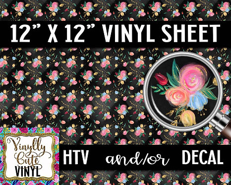 Midnight Summer Rose Vinyl ~ HTV or ADHESIVE DECAL