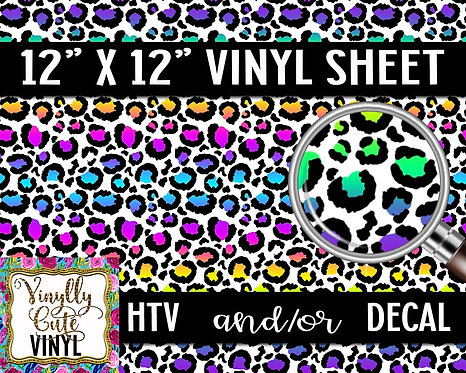 Neon Leopard ~ HTV or ADHESIVE DECAL