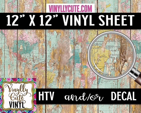 Weathered Wallpaper Map Wood ~ HTV or ADHESIVE DECAL VINYL