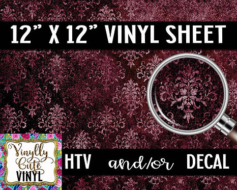 Burgundy Damask Vinyl ~ HTV or ADHESIVE DECAL
