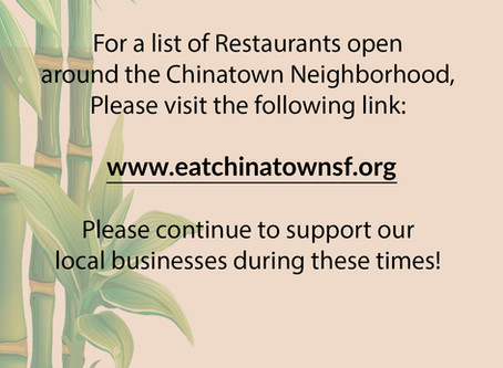 Support our local businesses! Visit eatchinatownsf.org