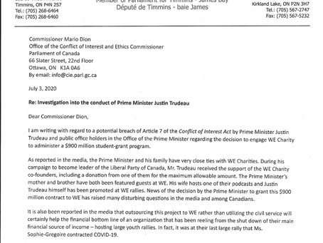 Investigation into the conduct of Prime Minister Justin Trudeau