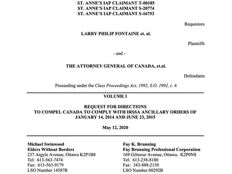Request for Directions to Compel Canada to Comply with IRSSA Ancillary Orders