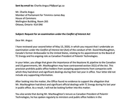 Ethics Commissioner Agrees to Angus Request for Examination Under the Conflict of Interest Act