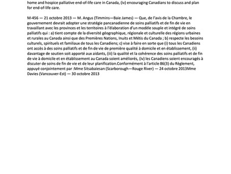 Motion M-456 to establish a Pan-Canadian Strategy on Palliative and End of Life Care