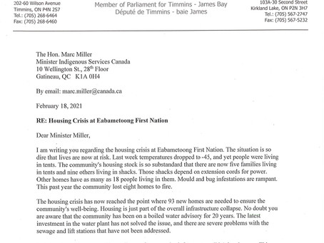 Housing Crisis at Eabametoong FN