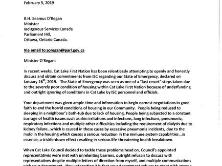 Cat Lake First Nation to Minister Seamus O'Regan