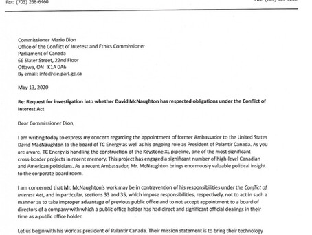 Request for investigation into whether David McNaughton has respected the Conflict of Interest Act