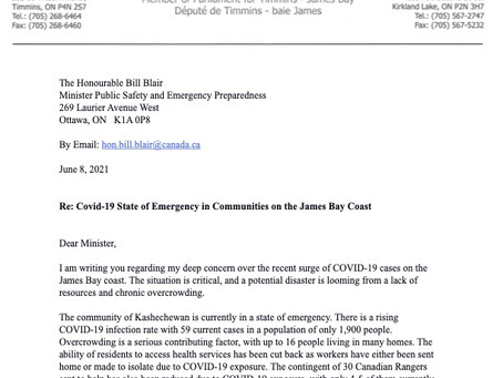 Covid-19 State of Emergency in Communities on the James Bay Coast