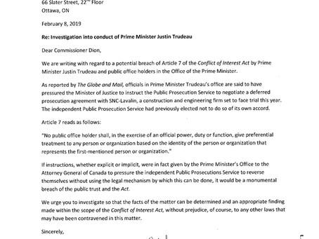 Investigation into conduct of Prime Minister Justin Trudeau