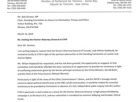 Inviting the Former Attorney General, Jody Wilson-Raybould to testify at ETHI