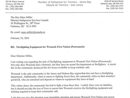 Firefighting Equipment for Weenusk First Nation (Peawanuck)