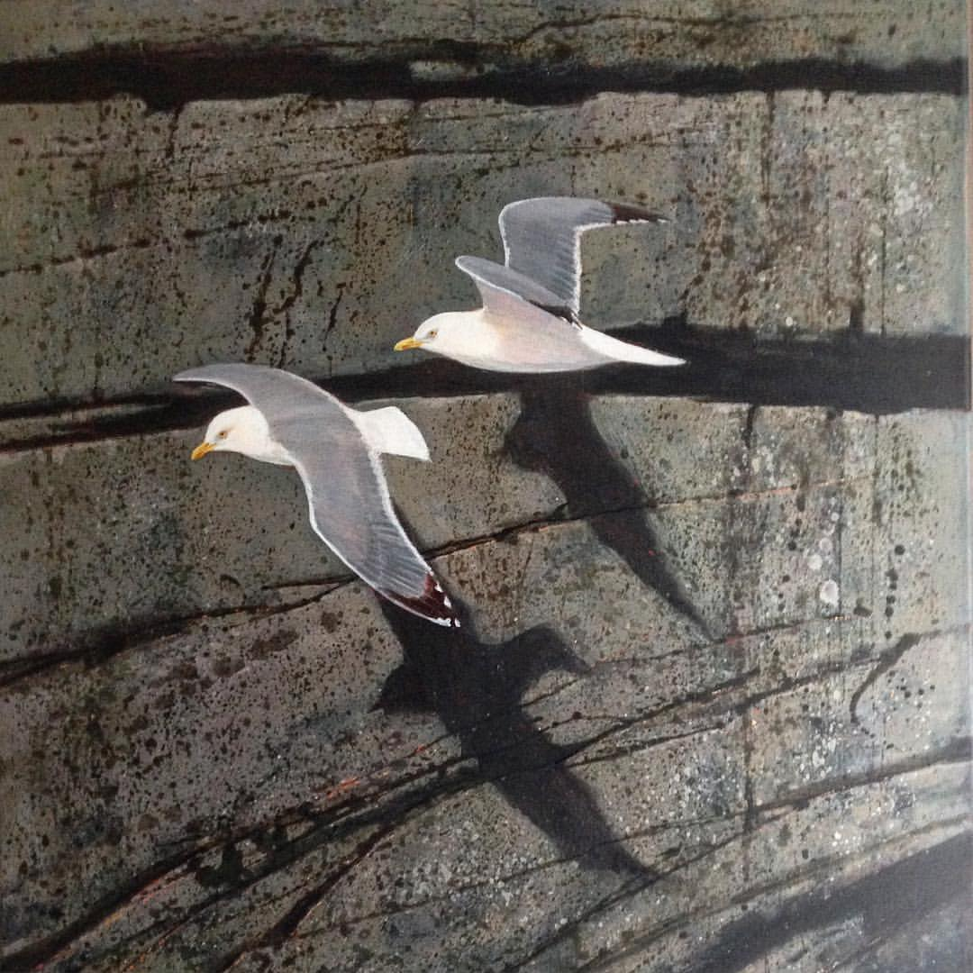 Seagulls in winter Cornwall, 86 x 60cm,