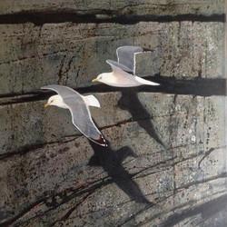 Seagulls in winter Cornwall, 86 x 60cm,