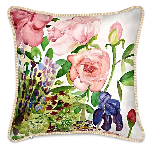 Summer Roses & Summer Plum Sunday, two sided Silk Cushion