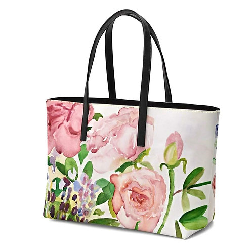 Summer Roses Italian LeatherTote Bag