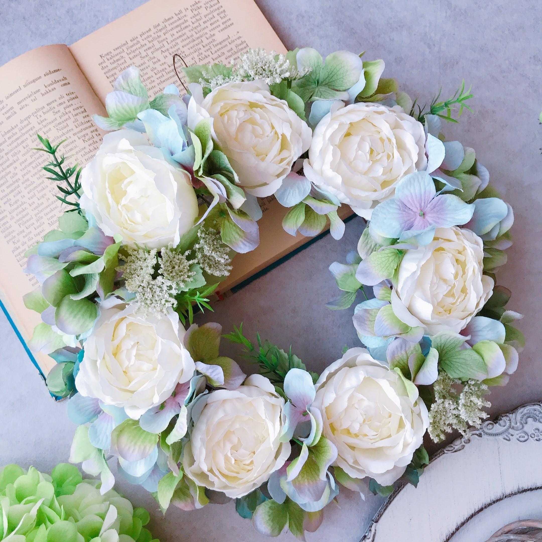 爽やかローズと紫陽花のリース