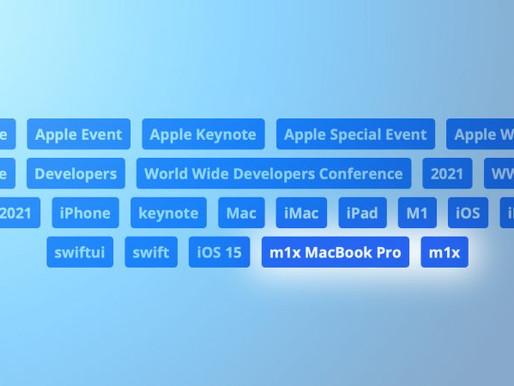 """M1X Macbook Pro"" tags found in Apple WWDC Keynote Video on YouTube"