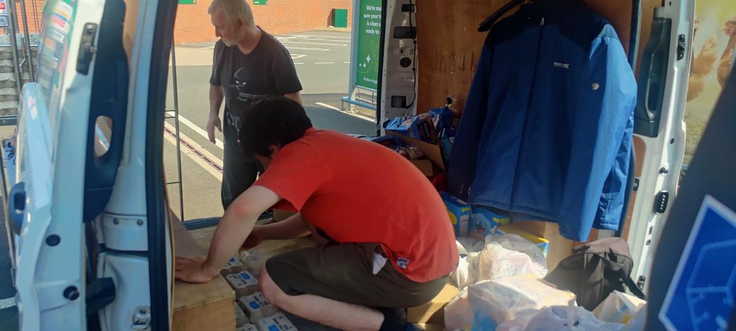 Jamie sorting the van out