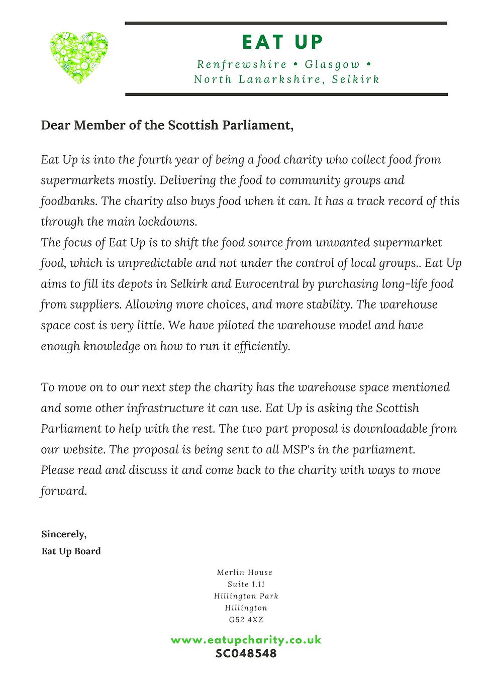 Eat Up Scottish Parliament Letter