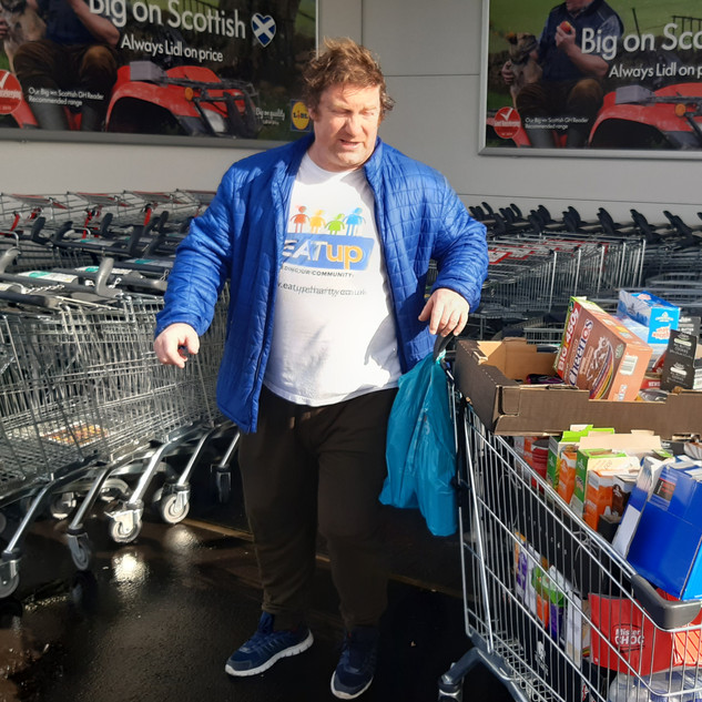 Tommy getting food from Lidl