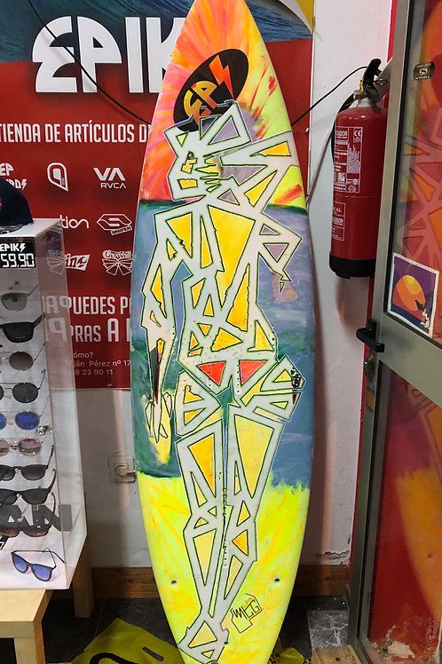 Geometric surf girl - painted on surfboard
