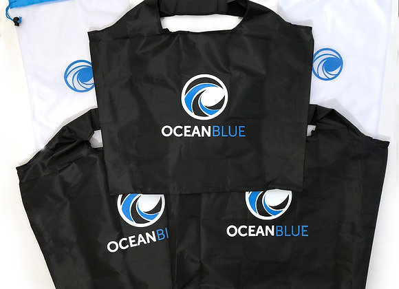 OceanBlue Co. Reusable Grocery Bag | 3 Bag Set, plus 2 Mesh Produce Bags