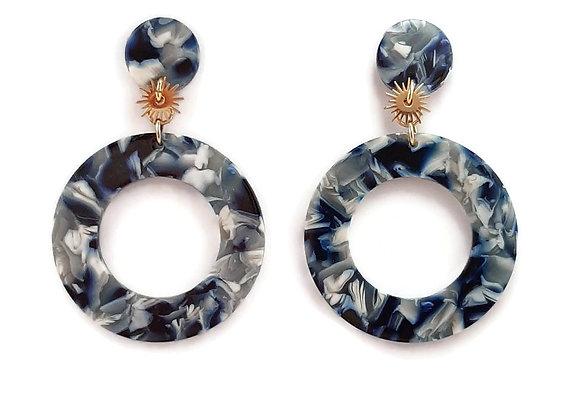 Boucles d'Oreilles- Ecaille de Tortue-Rondes- Chinese Porcelain