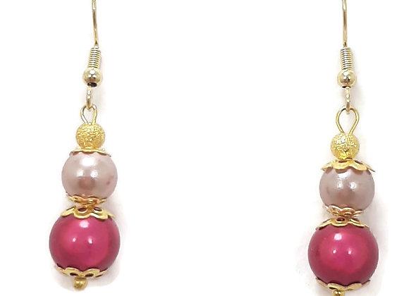 Boucles d'oreilles Perle Illusion Rose