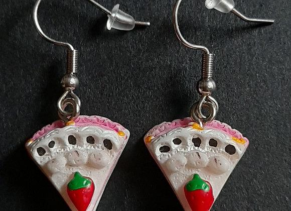 Boucles d'Oreilles-tarte aux fraises