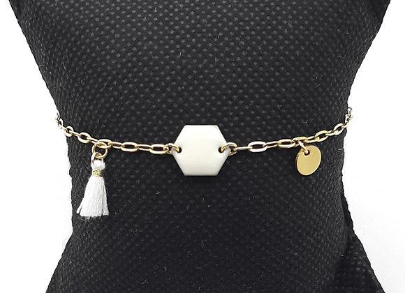 Bracelet-Acier Inoxydable Doré-Pompon