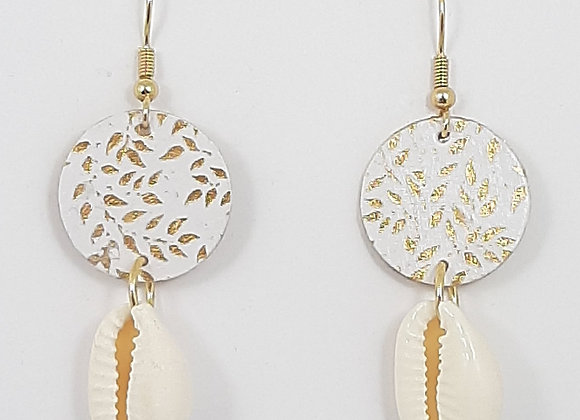 Boucles d'Oreilles-Feuille Or Coquillage Cauri Naturel