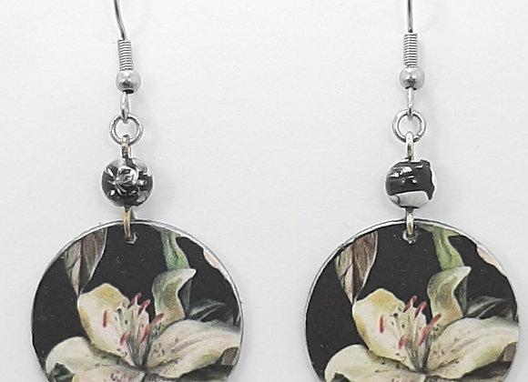 Boucles d'Oreilles-Papier Déco Motif Fleur Blanche Et Perle