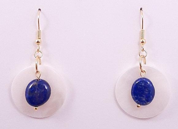 Boucles d'Oreilles- Pierre Lapis-lazuli Nacre