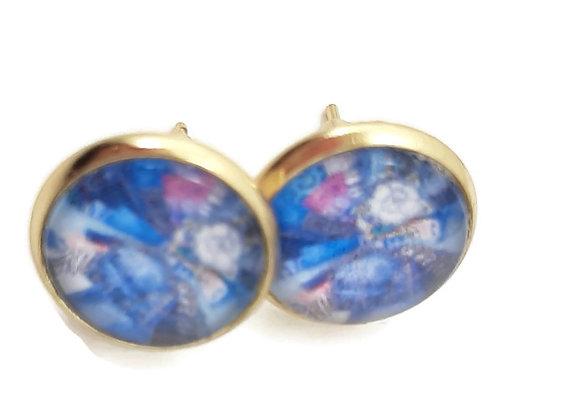 Boucles d'Oreilles- Puce Dorée Cabochon Bleu