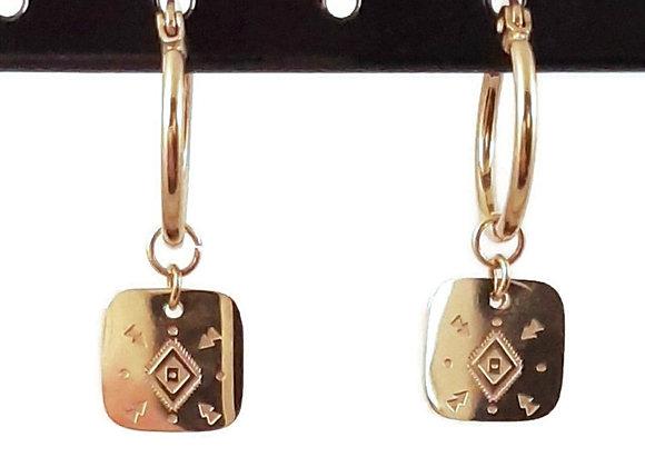 Boucles d'Oreilles- Créoles Médaille Carré