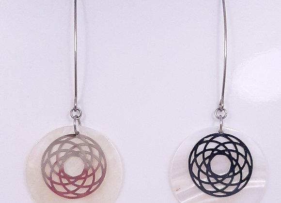 Boucles d'Oreilles Longues- Cercle et Nacre