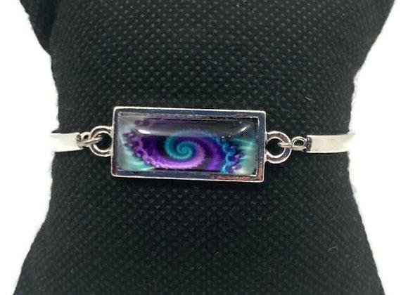 Bracelet Cabochon Spirale Bleu et Mauve