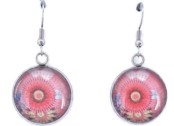 Boucles d'Oreilles- motif rose