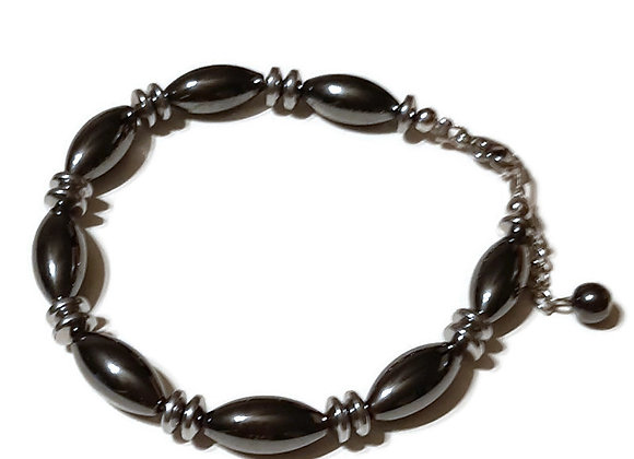 Bracelet Perles Semi-Précieuses Hématites Allongées