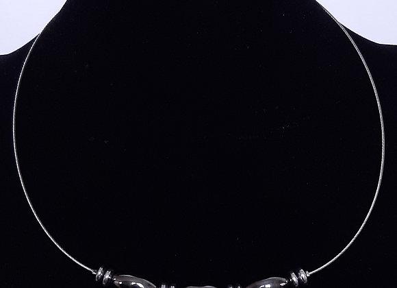 Collier Perles Semi-Précieuses Hématites Allongées