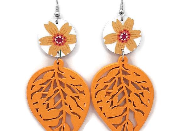 Boucles d'oreilles-Feuille Bois Orange