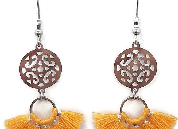 Boucles d'Oreilles-Mini-éventail orange