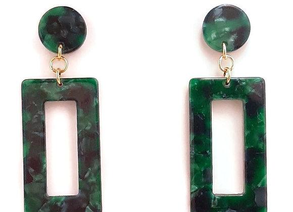 Boucles d'Oreilles- Ecaille de Tortue- Granit Vert-Rectangles