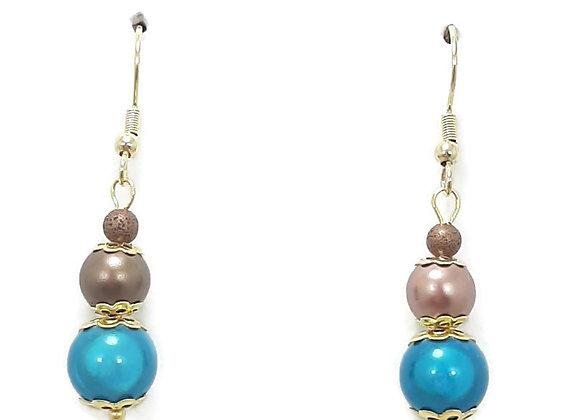 Boucles d'oreilles Perle Illusion Bleue