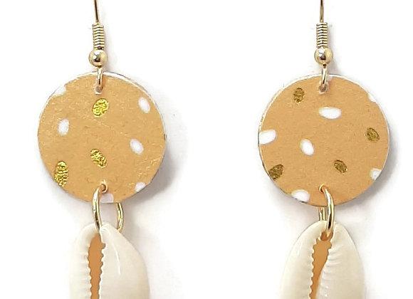 Boucles d'oreilles-Acier Inoxydable-Coquillage Cauri Naturel