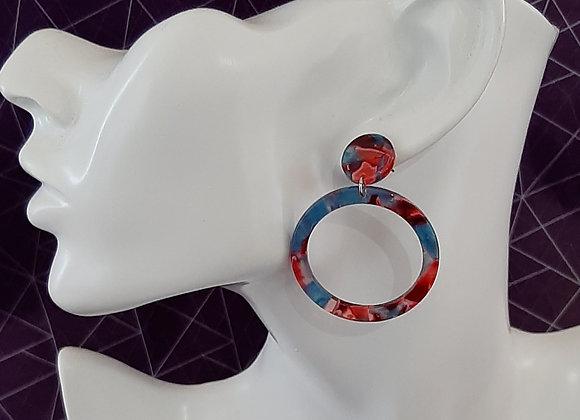 Boucles d'Oreilles- Ecaille de Tortue Iris Rouge