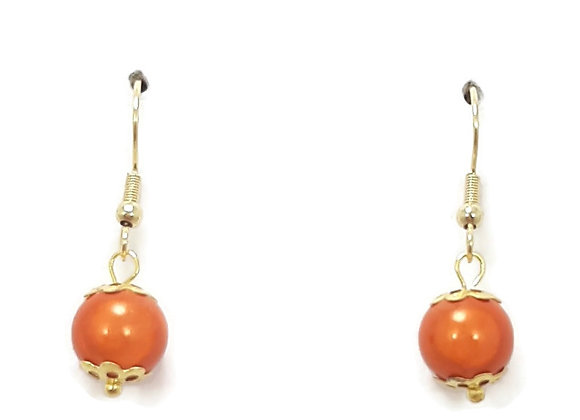 Boucles d'Oreilles Perle Illusion Orange