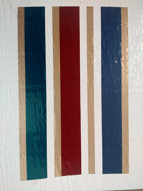 Teal/Burgundy/Blue/Gold Roll Striping – per foot