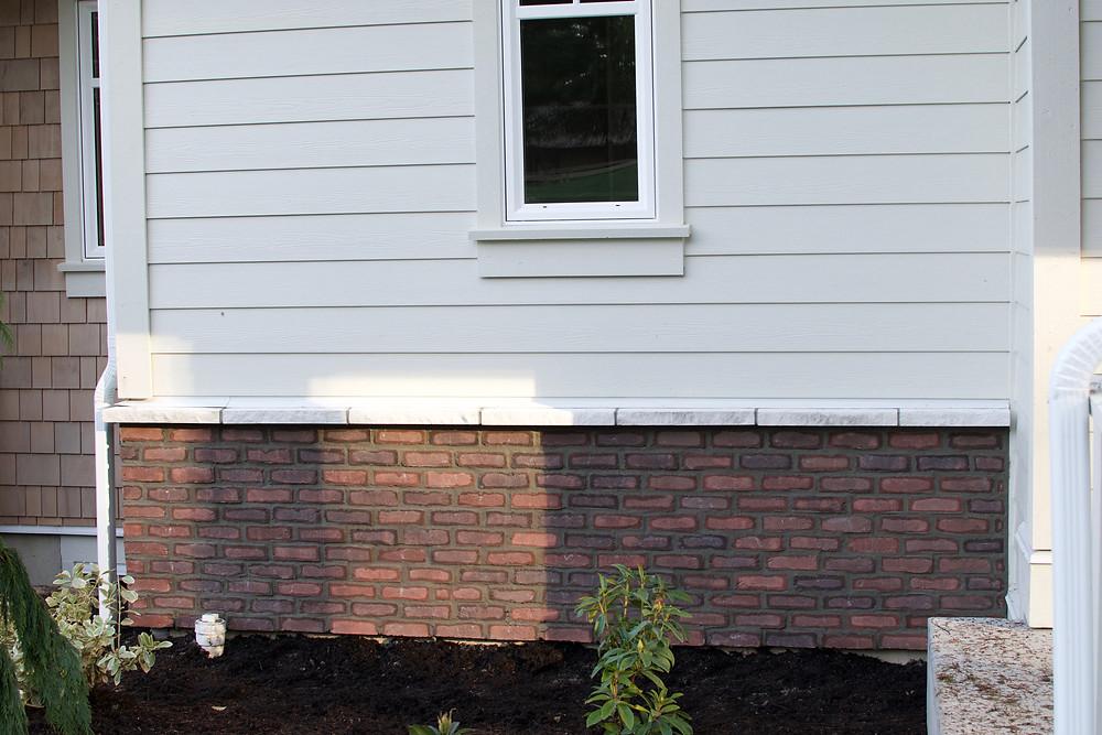 Lennox Masonry, Masonry Contractor, Stone Mason, Victoria BC, Vancouver Island - Red Hartford Tundra Brick Veneer, Before Whitewashing
